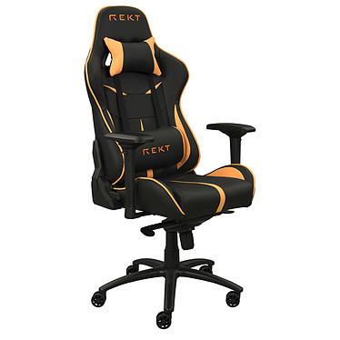 REKT TEAM8 Fluo (Orange) Siège en similicuir phosphorescent avec dossier inclinable à 180° et accoudoirs 4D pour gamer (jusqu'à 150 kg)