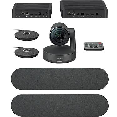 Logitech Rally Plus Caméra de visioconférence - Ultra HD 4K - angle de vue 90° - zoom 15x - 4 microphones - certifiée Skype for Business - hub d'écran - hub de table - 2x haut-parleurs - 2 modules de micro - télécommande