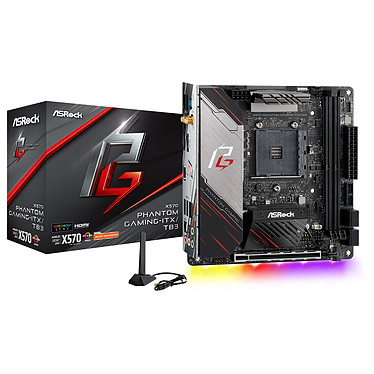 ASRock X570 Phantom Gaming-ITX/TB3 Carte mère mini-ITX Socket AM4 AMD X570 - 2x DDR4 - SATA 6Gb/s + M.2 - Thunderbolt 3 - PCI-Express 4.0 16x - Wi-Fi AX