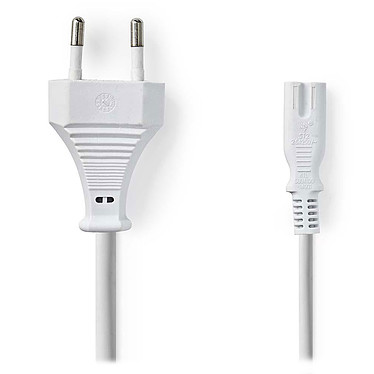 Nedis Câble d'alimentation bipolaire C7 blanc - 2 mètres Câble d'alimentation prise européenne vers IEC-320-C7 - 2 m