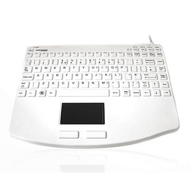 Accuratus AccuMed 540 V2 (Blanc) Clavier filaire compact - Interface USB - Trackpad intégré - Antibactérien - Scellé (Norme IP67) - (AZERTY, Français)