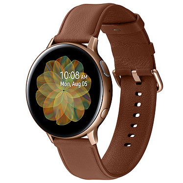 "Samsung Galaxy Watch Active 2 (44 mm / Acier / Or) Montre connectée - 44 mm - acier - certifiée IP68 - RAM 768 Mo - écran Super AMOLED 1.4"" - 4 Go - NFC/Wi-Fi/Bluetooth 5.0 - 340 mAh - Tizen OS 4.0"
