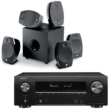 Denon AVR-X1600H + Focal Sib Evo 5.1 Ampli-tuner Home Cinema 3D Ready 7.2 - Dolby Atmos / DTS:X - 8x HDMI 4K UHD, HDCP 2.3, HDR - Wi-Fi/Bluetooth/AirPlay 2 - Multiroom - Amazon Alexa / Google Assistant + Ensemble 5.1