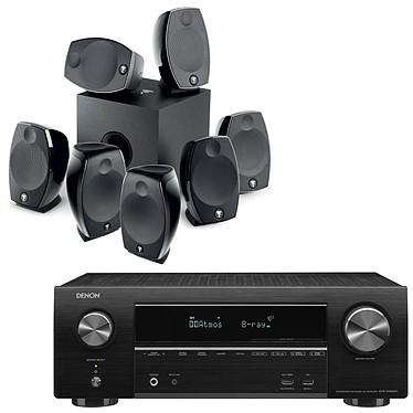 Denon AVR-X1600H + Focal Sib Evo 7.1.2 Ampli-tuner Home Cinema 3D Ready 7.2 - Dolby Atmos / DTS:X - 8x HDMI 4K UHD, HDCP 2.3, HDR - Wi-Fi/Bluetooth/AirPlay 2 - Multiroom - Amazon Alexa / Google Assistant + Ensemble 7.1.2 Dolby Atmos