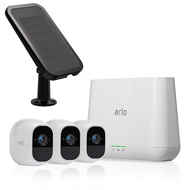 Arlo Pro 2 VMS4330P + Panneau Solaire VMA4600 Système de sécurité sans fil avec 3 caméras HD 1080p, fonction audio, vision nocturne et conception étanche + Panneau solaire pour caméra Arlo Go et Arlo Pro