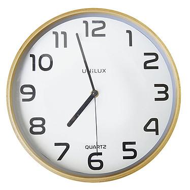 Unilux Horloge Baltic Blanc/Bois Horloge de bureau 31.5 cm