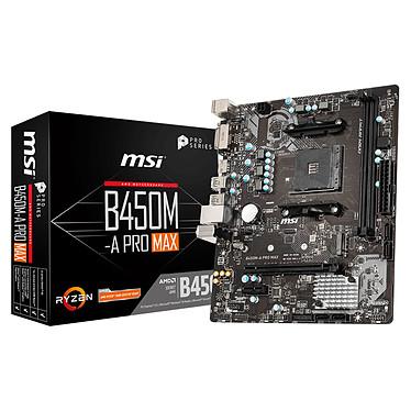 MSI B450M-A PRO MAX Carte mère micro-ATX Socket AM4 AMD B450 - 2x DDR4 - SATA 6Gb/s + M.2 - USB 3.0 - 1x PCI-Express 3.0 16x