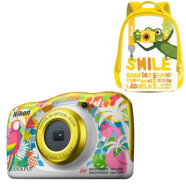 """Nikon Coolpix W150 Plage + Sac à dos Appareil photo 13.2 MP - Zoom optique 3x - Vidéo Full HD - HDMI - USB - Écran ACL TFT 2.3"""" - Wi-Fi - Bluetooth - Boîtier étanche + sac à dos"""