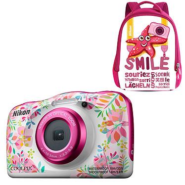 """Nikon Coolpix W150 Fleur + Sac à dos Appareil photo 13.2 MP - Zoom optique 3x - Vidéo Full HD - HDMI - USB - Écran ACL TFT 2.3"""" - Wi-Fi - Bluetooth - Boîtier étanche + sac à dos"""