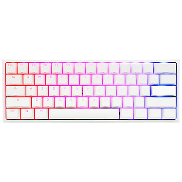 Ducky Channel One 2 Mini RGB Blanc (Cherry MX RGB Red) Clavier compact haut de gamme - format ultra-compact 60% - interrupteurs mécaniques rouges (switches Cherry MX RGB Red) - rétroéclairage RGB multi-effets - touches en PBT - AZERTY Français