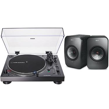 Audio-Technica AT-LP120XUSB Noir + KEF LSX Wireless Noir Platine vinyle à entraînement direct 3 vitesses (33-45-78 trs/min) avec cellule AT-VM95E, pré-ampli intégré et port USB + Enceintes bibliothèques compactes actives Wi-Fi, Bluetooth et AirPlay 2