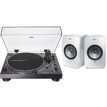 Audio-Technica AT-LP120XUSB Noir + KEF LSX Wireless Blanc Platine vinyle à entraînement direct 3 vitesses (33-45-78 trs/min) avec cellule AT-VM95E, pré-ampli intégré et port USB + Enceintes bibliothèques compactes actives Wi-Fi, Bluetooth et AirPlay 2
