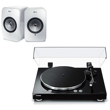 Yamaha MusicCast VINYL 500 Noir + KEF LSX Wireless Blanc Platine vinyle multiroom à 2 vitesses (33-45 trs/min) avec pré-ampli intégré, Bluetooth, Wi-Fi et AirPlay + Enceintes bibliothèques compactes actives Wi-Fi, Bluetooth et AirPlay 2