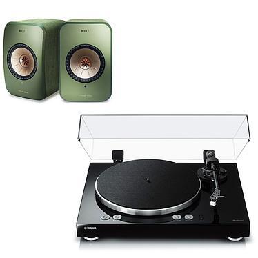 Yamaha MusicCast VINYL 500 Noir + KEF LSX Wireless Vert Platine vinyle multiroom à 2 vitesses (33-45 trs/min) avec pré-ampli intégré, Bluetooth, Wi-Fi et AirPlay + Enceintes bibliothèques compactes actives Wi-Fi, Bluetooth et AirPlay 2