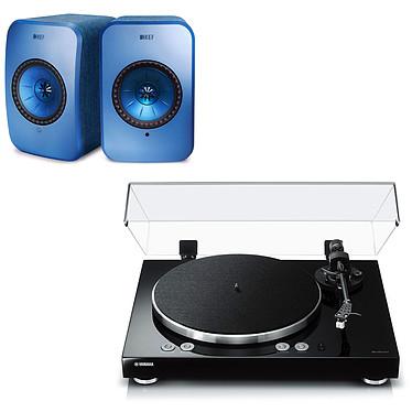 Yamaha MusicCast VINYL 500 Noir + KEF LSX Wireless Bleu Platine vinyle multiroom à 2 vitesses (33-45 trs/min) avec pré-ampli intégré, Bluetooth, Wi-Fi et AirPlay + Enceintes bibliothèques compactes actives Wi-Fi, Bluetooth et AirPlay 2