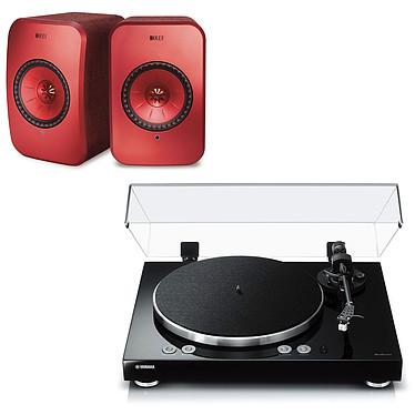 Yamaha MusicCast VINYL 500 Noir + KEF LSX Wireless Rouge Platine vinyle multiroom à 2 vitesses (33-45 trs/min) avec pré-ampli intégré, Bluetooth, Wi-Fi et AirPlay + Enceintes bibliothèques compactes actives Wi-Fi, Bluetooth et AirPlay 2