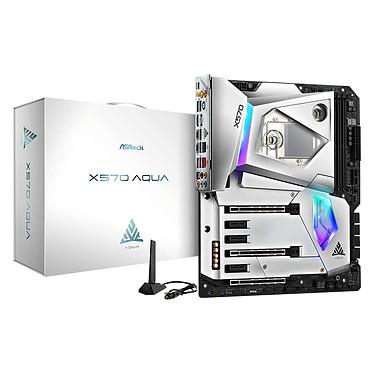 ASRock X570 AQUA Carte mère E-ATX Socket AM4 AMD X570 - 4x DDR4 - SATA 6Gb/s + M.2 - USB 3.1 - 3x PCI-Express 4.0 16x - 10 GbE - Wi-Fi 6 AX - Waterblock chipset intégré