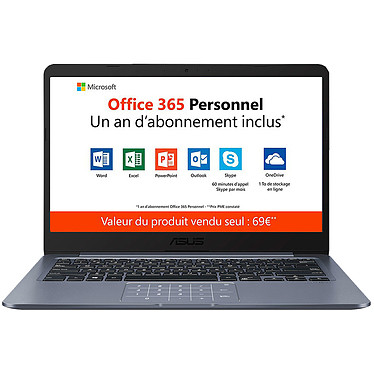 "ASUS E406SA-BV233TS avec NumPad Intel Celeron N3000 4 Go eMMC 64 Go 14"" LED HD Wi-Fi N/Bluetooth Webcam Windows 10 Famille en mode S"