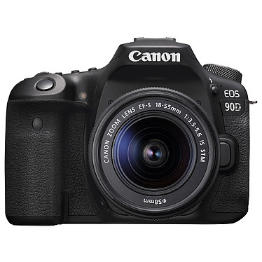 "Canon EOS 90D + 18-55mm IS STM Appareil photo 32.5 MP - ISO 25600 - Vidéo 4K UHD - Ecran LCD 3"" tactile et orientable - Wi-Fi/Bluetooth + Objectif EF-S 18-55mm IS STM f/3.5-5.6"