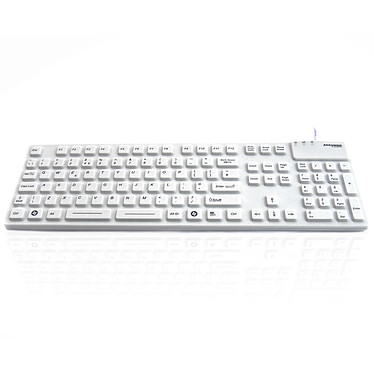 Accuratus AccuMed 105 (Blanc) Clavier filaire - Interface USB/ PS2 - Antibactérien - Scellé (Norme IP67) - (AZERTY, Français)