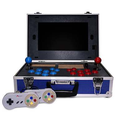 """Hutopi Hutopia Caja de Retrogaming de metal - Raspberry Pi 3B+ - Pantalla 13.3"""" Full HD - Powerbank 20 000 mAh - Tarjeta SD 16 Go Recalbox & Retropie 100% compatible - 2 mandos - 2 kits de joystick"""