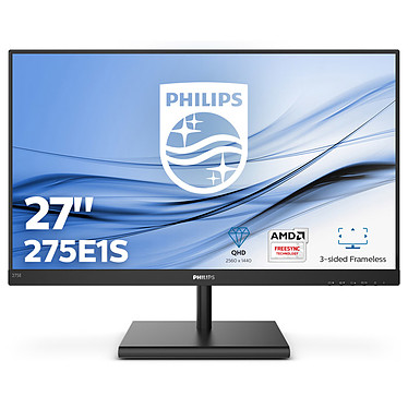 "Philips 27"" LED - 275E1S 2560 x 1440 pixels - 4 ms (gris à gris) - Format large 16/9 - Dalle IPS - 75 Hz - Adaptive Sync/FreeSync - HDMI/VGA/DisplayPort - Noir"