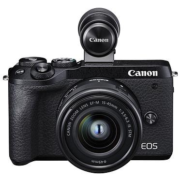 """Canon EOS M6 Mark II Noir + 15-45mm + Viseur Appareil photo 32.5 MP - ISO 25600 - Vidéo 4K UHD - Ecran LCD 3"""" tactile et inclinable - Wi-Fi/Bluetooth + Viseur électronique + Objectif EF-M 15-45mm f/3.5-6.3 IS STM"""