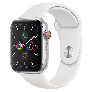 Apple Watch Series 5 GPS + Cellular Aluminium Argent Bracelet Sport Blanc 44 mm Montre connectée 4G - Aluminium - Étanche 50 m - GPS/GLONASS - Cardiofréquencemètre - Écran Retina OLED 368 x 448 pixels - 32 Go - Wi-Fi/Bluetooth 5.0 - watchOS 6 - Bracelet Sport 44 mm