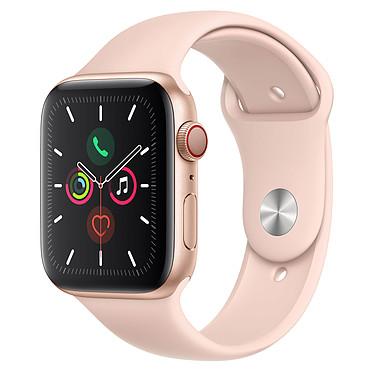 Apple Watch Series 5 GPS + Cellular Aluminium Or Bracelet Sport Rose des Sables 44 mm Montre connectée 4G - Aluminium - Étanche 50 m - GPS/GLONASS - Cardiofréquencemètre - Écran Retina OLED 368 x 448 pixels - 32 Go - Wi-Fi/Bluetooth 5.0 - watchOS 6 - Bracelet Sport 44 mm