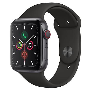 Apple Watch Series 5 GPS + Cellular Aluminium Gris Sidéral Bracelet Sport Noir 44 mm Montre connectée 4G - Aluminium - Étanche 50 m - GPS/GLONASS - Cardiofréquencemètre - Écran Retina OLED 368 x 448 pixels - 32 Go - Wi-Fi/Bluetooth 5.0 - watchOS 6 - Bracelet Sport 44 mm