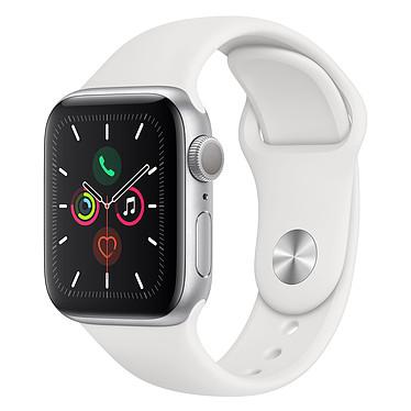 Apple Watch Series 5 GPS Aluminium Argent Bracelet Sport Blanc 40 mm Montre connectée - Aluminium - Étanche 50 m - GPS/GLONASS - Cardiofréquencemètre - Écran Retina OLED 324 x 394 pixels - 32 Go - Wi-Fi/Bluetooth 5.0 - watchOS 6 - Bracelet Sport 40 mm
