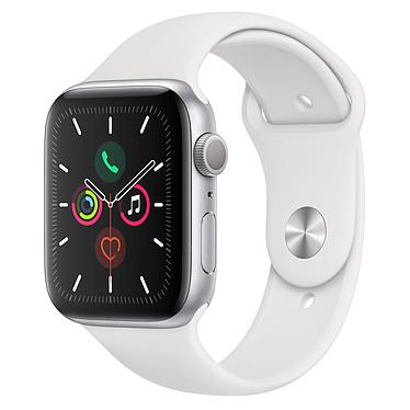 Apple Watch Series 5 GPS Aluminio Plata Pulsera Deportiva Blanca 44 mm Reloj conectado - Aluminio - Resistente al agua hasta 50 m - GPS/GLONASS - Cardiofrecuencímetro - Pantalla Retina OLED 368 x 448 píxeles - 32 GB - Wi-Fi/Bluetooth 5.0 - watchOS 6 - Pulsera deportiva 44 mm