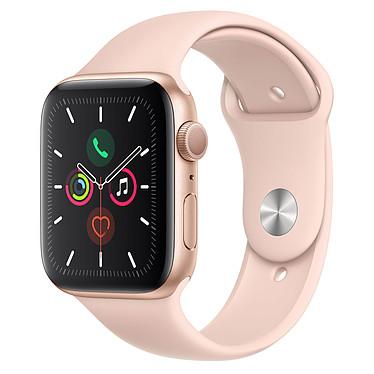Apple Watch Series 5 GPS Aluminium Or Bracelet Sport Rose des Sables 44 mm Montre connectée - Aluminium - Étanche 50 m - GPS/GLONASS - Cardiofréquencemètre - Écran Retina OLED 368 x 448 pixels - 32 Go - Wi-Fi/Bluetooth 5.0 - watchOS 6 - Bracelet Sport 44 mm