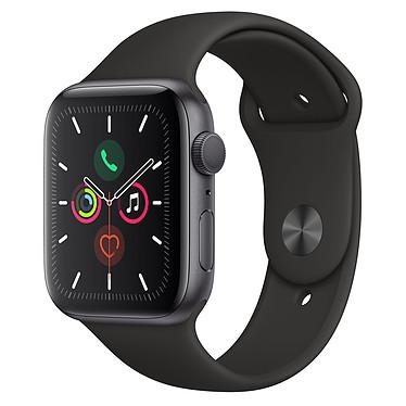 Apple Watch Series 5 GPS Aluminium Gris Sidéral Bracelet Sport Noir 44 mm Montre connectée - Aluminium - Étanche 50 m - GPS/GLONASS - Cardiofréquencemètre - Écran Retina OLED 368 x 448 pixels - 32 Go - Wi-Fi/Bluetooth 5.0 - watchOS 6 - Bracelet Sport 44 mm