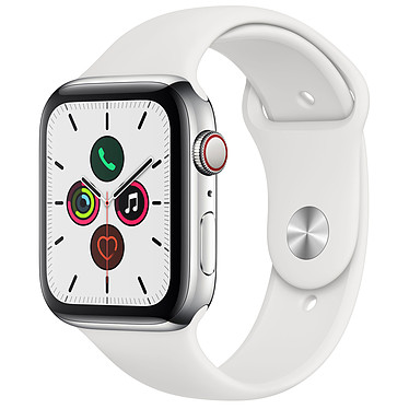 Apple Watch Series 5 GPS + Cellular Acier Bracelet Sport Blanc 44 mm Montre connectée 4G - Acier inoxydable - Étanche 50 m - GPS/GLONASS - Cardiofréquencemètre - Écran Retina OLED 368 x 448 pixels - 32 Go - Wi-Fi/Bluetooth 5.0 - watchOS 6 - Bracelet Sport 44 mm