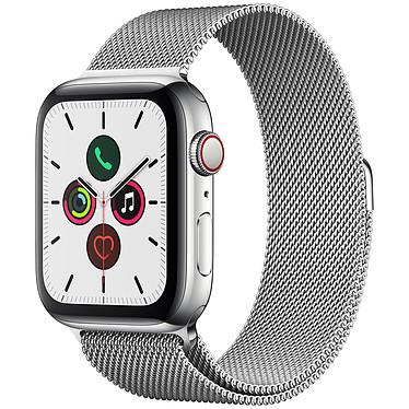 Apple Watch Series 5 GPS + Cellular Acier Bracelet Milanais Argent 44 mm Montre connectée 4G - Acier inoxydable - Étanche 50 m - GPS/GLONASS - Cardiofréquencemètre - Écran Retina OLED 368 x 448 pixels - 32 Go - Wi-Fi/Bluetooth 5.0 - watchOS 6 - Bracelet Milanais 44 mm