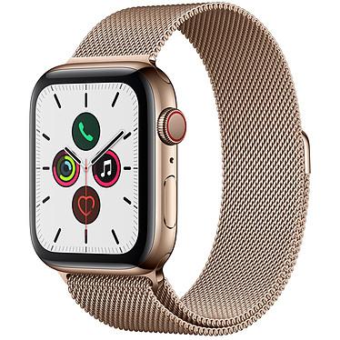 Apple Watch Series 5 GPS + Cellular Acier Or Bracelet Milanais Or 44 mm Montre connectée 4G - Acier inoxydable - Étanche 50 m - GPS/GLONASS - Cardiofréquencemètre - Écran Retina OLED 368 x 448 pixels - 32 Go - Wi-Fi/Bluetooth 5.0 - watchOS 6 - Bracelet Milanais 44 mm