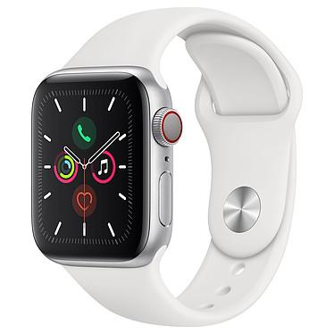 Apple Watch Series 5 GPS + Cellular Aluminium Argent Bracelet Sport Blanc 40 mm Montre connectée 4G - Aluminium - Étanche 50 m - GPS/GLONASS - Cardiofréquencemètre - Écran Retina OLED 324 x 394 pixels - 32 Go - Wi-Fi/Bluetooth 5.0 - watchOS 6 - Bracelet Sport 40 mm