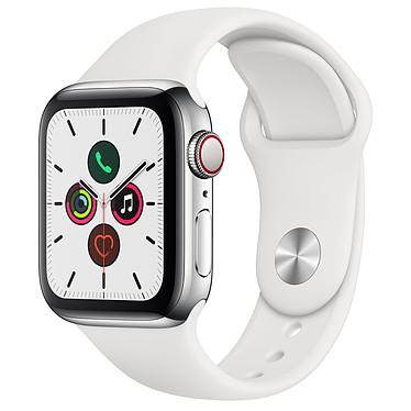 Apple Watch Series 5 GPS + Cellular Acier Argent Bracelet Sport Blanc 40 mm Montre connectée 4G - Acier inoxydable - Étanche 50 m - GPS/GLONASS - Cardiofréquencemètre - Écran Retina OLED 324 x 394 pixels - 32 Go - Wi-Fi/Bluetooth 5.0 - watchOS 6 - Bracelet Sport 40 mm