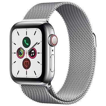 Apple Watch Series 5 GPS + Cellular Acier Argent Bracelet Milanais Argent 40 mm Montre connectée 4G - Acier inoxydable - Étanche 50 m - GPS/GLONASS - Cardiofréquencemètre - Écran Retina OLED 324 x 394 pixels - 32 Go - Wi-Fi/Bluetooth 5.0 - watchOS 6 - Bracelet Milanais 40 mm