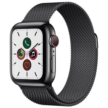 Apple Watch Series 5 GPS + Cellular Acier Noir Bracelet Milanais Noir 40 mm Montre connectée 4G - Acier inoxydable - Étanche 50 m - GPS/GLONASS - Cardiofréquencemètre - Écran Retina OLED 324 x 394 pixels - 32 Go - Wi-Fi/Bluetooth 5.0 - watchOS 6 - Bracelet Milanais 40 mm