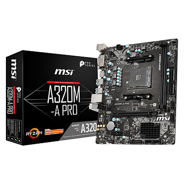 MSI A320M-A PRO Carte mère Micro ATX Socket AM4 AMD A320 - 2x DDR4 - SATA 6Gb/s - 1x PCI-Express 3.0 16x