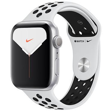 Apple Watch Series 5 Nike GPS Aluminium Argent Bracelet Sport Platine Pur/Noir 44 mm Montre connectée - Aluminium - Étanche 50 m - GPS/GLONASS - Cardiofréquencemètre - Écran Retina OLED 368 x 448 pixels - 32 Go - Wi-Fi/Bluetooth 5.0 - watchOS 6 - Bracelet Sport 44 mm