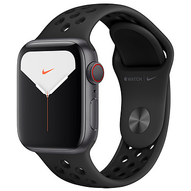 Apple Watch Series 5 Nike GPS + Cellular Aluminium Gris Sidéral Bracelet Sport Noir 40 mm Montre connectée 4G - Aluminium - Étanche 50 m - GPS/GLONASS - Cardiofréquencemètre - Écran Retina OLED 324 x 394 pixels - 32 Go - Wi-Fi/Bluetooth 5.0 - watchOS 6 - Bracelet Sport 40 mm