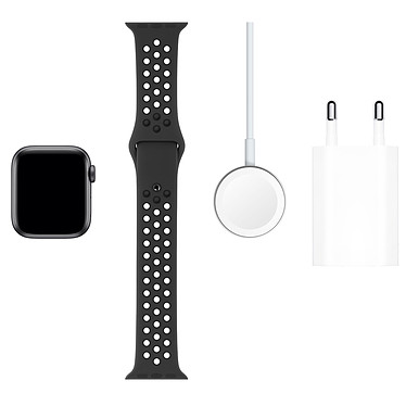 Acheter Apple Watch Series 5 Nike GPS + Cellular Aluminium Gris Sidéral Bracelet Sport Noir 40 mm