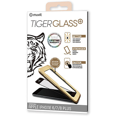Tiger Glass Plus Verre Trempé Noir Apple iPhone 6 Plus/6s Plus/7 Plus/8 Plus