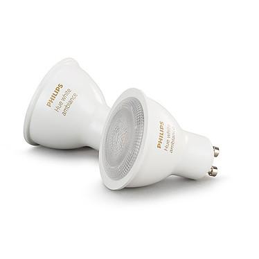 Philips Hue White Ambiance GU10 Bluetooth x 2 Pack de 2 ampoules GU10 - 5.5 Watts