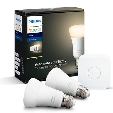 Philips Hue White Kit de démarrage E27 Bluetooth 2 ampoules E27 - Pont Hue