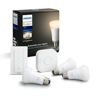 Philips Hue White Kit de démarrage E27 Bluetooth 3 ampoules E27 - Pont Hue - Interrupteur avec variateur