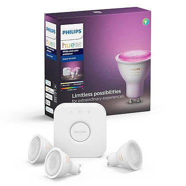 Philips Hue White & Color Ambiance Kit de démarrage GU10 Bluetooth 3 ampoules GU10 - Pont Hue